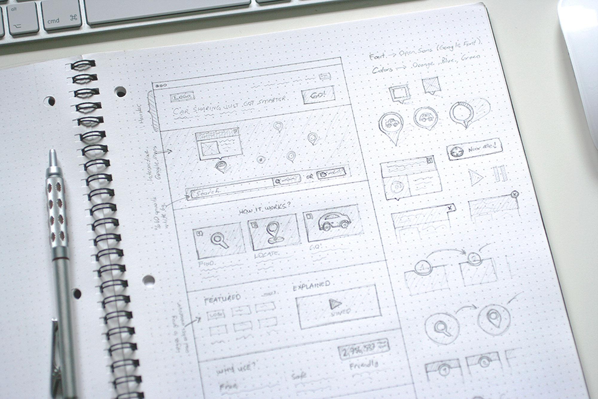 Ui Sketch Template Dot Grid Book Wireframe Sketch Landing Page