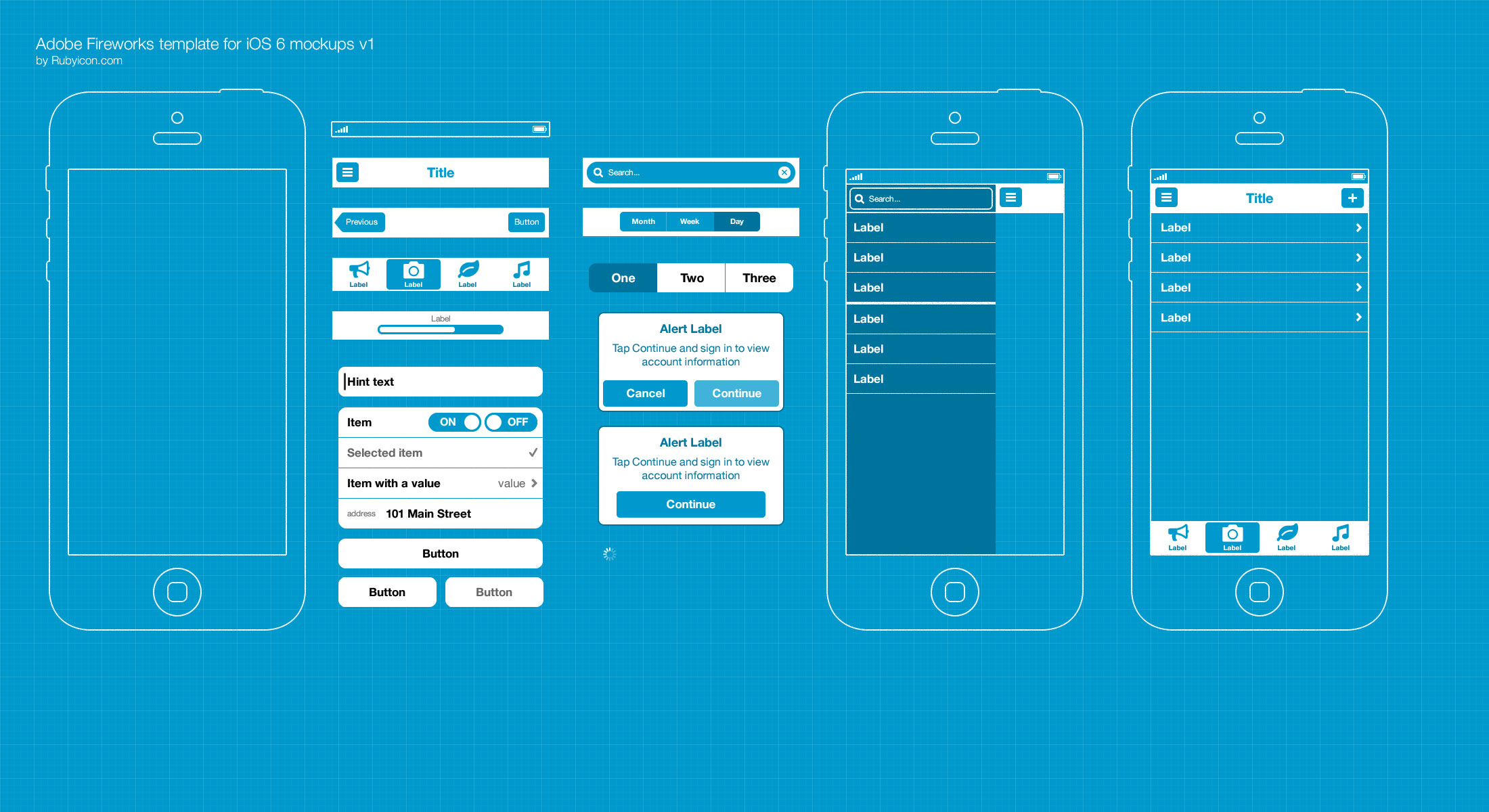 Free adobe fw template for ios 6 wireframing blueprints Blueprint designer free