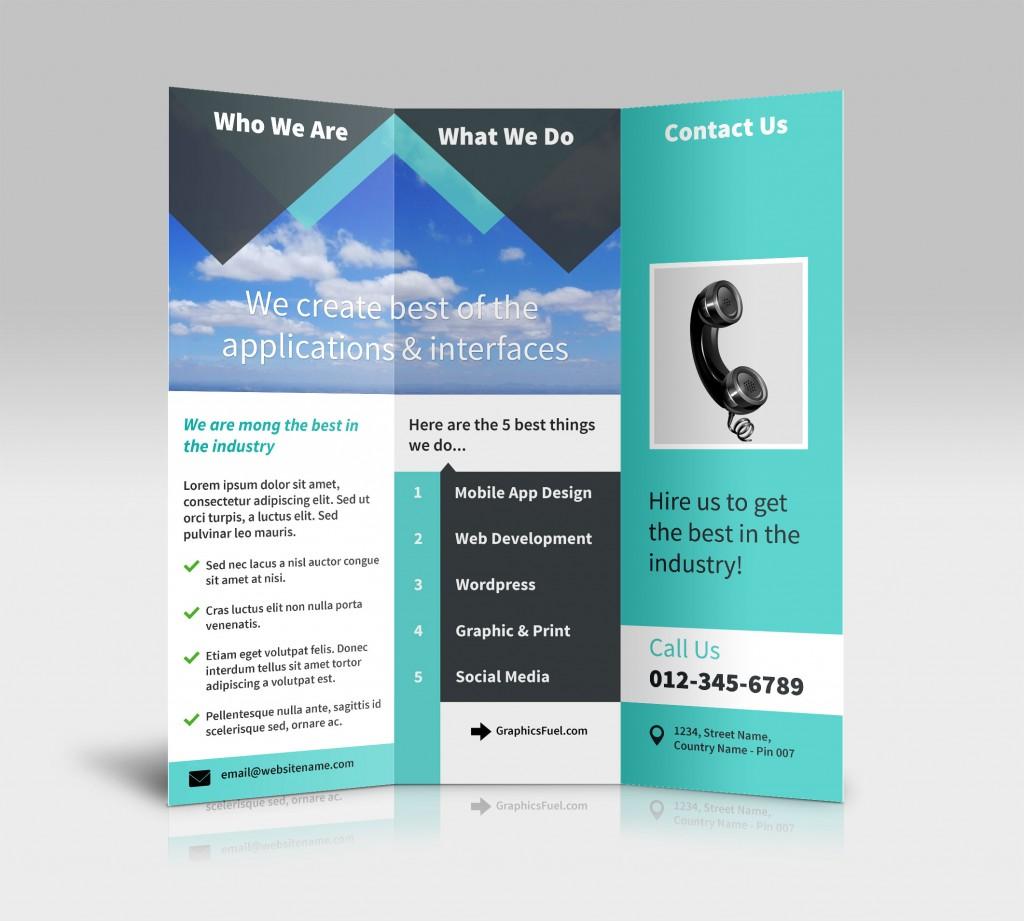 Dentro interior folheto brochura 3 painel tri-dobra maquetes psd